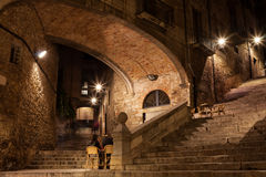 Arch of the Agullana Palace at Night in Girona. Arch of the Agullana Palace and Sant Domenec stairs at night in Girona, Catalonia, Spain Stock Photography