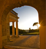 Arch in ancient castle at sunset inCenon, Bordeaux. France Royalty Free Stock Images
