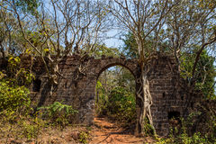 Arch at ancient fortress wall. Redi fort (Yashwantgad Fort). Ind. Ia, Maharashtra Stock Image
