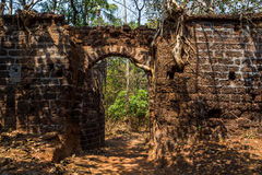 Arch at ancient fortress wall. Redi fort Yashwantgad Fort. Ind. Ia, Maharashtra Stock Photography