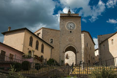 Arch And Clock Tower In The Historic Center Of Monteleone Di Spoleto Royalty Free Stock Images