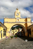Arch in Antigua city. Old arch in historic colonial city of Guatemala royalty free stock photos