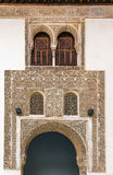 Arch with arabesque in Alhambra, Spain. Arch with stone relief with arabesques in Alhambra palace, Spain Royalty Free Stock Photos