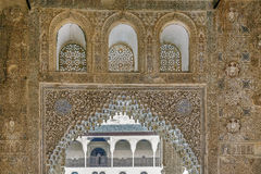 Arch with arabesque in Alhambra, Spain Royalty Free Stock Photography