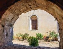 Arch in Arcadi monastery on Crete island, Greece Royalty Free Stock Photos