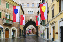 Arch architecture Fabriano. Typical arch architecture of village Fabriano in Italy, Marche Royalty Free Stock Photos