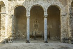 Arch of the atrium Euphrasian basilica. Atrium`s arches of the Euphrasian basilica in Porec, Croatia Royalty Free Stock Photography