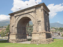 Arch of August Aosta. Arco d Augusto (Arch of August) in Aosta Italy Stock Photos