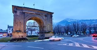 Arch of August in Aosta Italy Stock Image