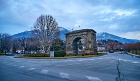 Arch of August in Aosta Italy Stock Images