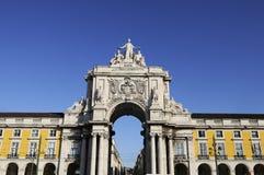 Arch of augusta in lisbon. Famous arch at the Praca do Comercio showing Viriatus, Vasco da Gama, Pombal and Nuno Alvares Pereira Stock Image