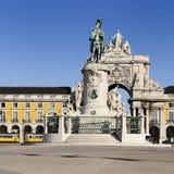 Arch of augusta in lisbon. Famous arch at the Praca do Comercio showing Viriatus, Vasco da Gama, Pombal and Nuno Alvares Pereira Stock Images