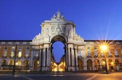Arch of augusta in lisbon. Famous arch at the Praca do Comercio showing Viriatus, Vasco da Gama, Pombal and Nuno Alvares Pereira Royalty Free Stock Photos