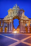 Arch of augusta in lisbon. Famous arch at the Praca do Comercio showing Viriatus, Vasco da Gama, Pombal and Nuno Alvares Pereira Royalty Free Stock Images