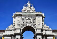 The arch of Augusta Rua in Lisbon, Portugal. The arch of Augusta Rua is an historical building in Lisbon, Portugal, on Commerce Square, built to commemorate the Stock Photos