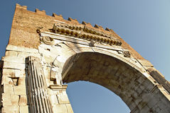 Arch of Augustus. The ARch of Augustus in Rimini, Italy, close-up view to show details royalty free stock images