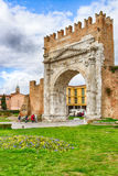 Arch of Augustus. An ancient Roman gateway to the city of Rimini in Italy Stock Photo