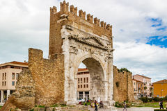 Arch of Augustus. An ancient Roman gateway to the city of Rimini in Italy Royalty Free Stock Image