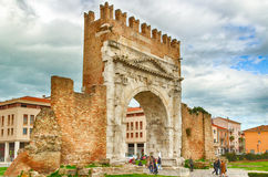 Arch of Augustus. An ancient Roman gateway to the city of Rimini in Italy Stock Photography