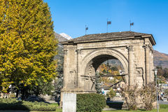 Arch of Augustus in Aosta, Italy. Aosta,Italy,Europe - November 8, 2014 : The triumphal Arch of Augustus in the homonymous square Royalty Free Stock Photos