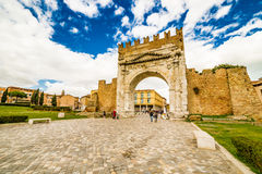 Arch of Augustus. The most ancient roman arch Stock Photos