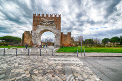 Arch of Augustus. The most ancient roman arch, entrance to the city of Rimini in Italy Royalty Free Stock Photography