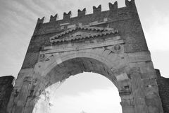 Arch of Augustus in Rimini. Italy. Black and white Royalty Free Stock Images