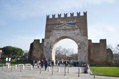 Arch of Augustus in Rimini. RIMINI, ITALY - FEBRUARY 16, 2014: Old Arch of Augustus in Rimini, Italy Stock Photography