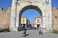 Arch of Augustus in Rimini. Rimini, Italy - February 21, 2014: Arch of Augustus in Rimini. It was built in 27 BC. e Stock Image