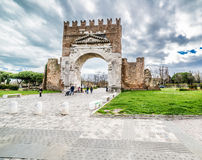 Arch of Augustus in Rimini, Italy. Arch of Augustus, the most ancient roman arch, entrance to the city of Rimini in Italy Royalty Free Stock Photos
