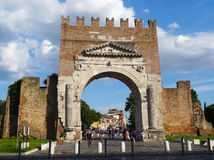 Arch of Augustus, Rimini, Italy. Arch of Augustus, the oldest Roman arch which survives, Rimini, the capital of Italys Adriatic Riviera Royalty Free Stock Photo