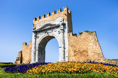 Arch of Augustus - Rimini, Italy. Perspective  view of the Arch of Augustus in Rimini, Italy Stock Photos