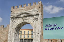 Arch of Augustus in Rimini. With sign of greetings Stock Photos
