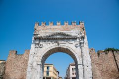 Arch of Augustus - Roman gate and historical landmark of Rimini,. Italy Stock Images