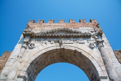 Arch of Augustus - Roman gate and historical landmark of Rimini,. Italy Stock Photos