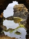 An arch of the Australian Grotto. The grotto is a sinkhole geological formation found on the Great Ocean Road outside Port Campbell in Victoria in  Australia Stock Photography