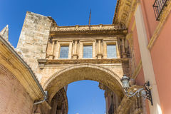 Arch between the Basilica de la Virgen and the  cathedral in Val. Encia, Spain Royalty Free Stock Photography