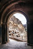 Arch bells view from Church and chapel in Vardzia cave city-monastery in the Erusheti Mountain, Georgia. Arch bells view from Church and chapel Vardzia cave city Stock Photos