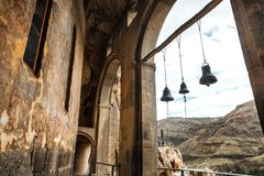 Arch bells view from Church and chapel in Vardzia cave city-monastery in the Erusheti Mountain, Georgia. Arch bells view from Church and chapel Vardzia cave city Stock Image