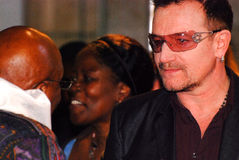 The Arch Bishop Emeritus Desmond Tutu. With Bono at his official book launch , St George's Cathedral 2011 Royalty Free Stock Photo