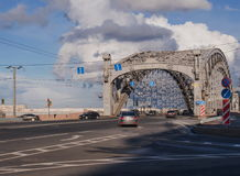 Arch Bolsheokhtinsky bridge. The entrance to the bridge in Saint Petersburg, Russia. Stock Photos