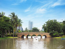 Arch brick bridge over the lake. At Jatujak(Chatuchak) public city park in Bangkok,Thailand Stock Photo