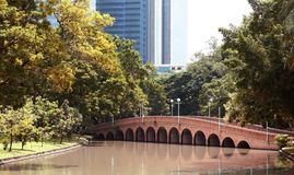 Arch brick bridge over the lake at JatujakChatuchak public city park. In Bangkok,Thailand Royalty Free Stock Photo