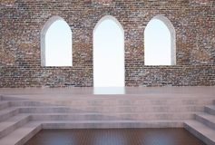 Arch and brick wall Gothic. Inside Of Arch and brick wall Gothic Style Concept and Design vector illustration