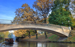 Arch bridge. Arch bridge across city canal in Riga, Latvia Stock Image