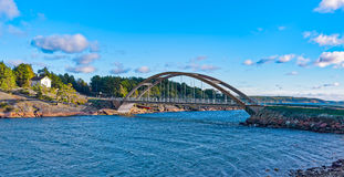 Arch bridge across the strait between the islands of the Aland. View of The Baltic Sea, a strait and a arch bridge across in Bomarsund, Aland. Local Museum in Royalty Free Stock Image