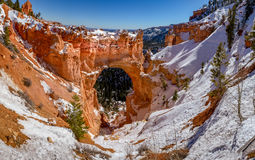 Arch Bridge at Bryce Canyon in the snow. A dusting of snow at the Arch Bridge in Bryce Canyon National Park Royalty Free Stock Photos