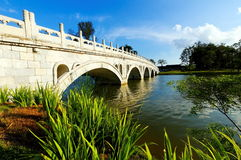 Arch bridge in Chinese Garden. Arched pedestrian bridge across a lake in Singapore Chinese Garden Stock Images