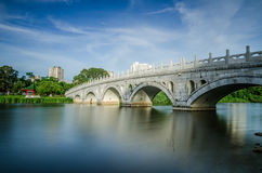 Arch Bridge of Chinese Garden. Beautiful Arch Bridge of Chinese Garden under blue sky Royalty Free Stock Images