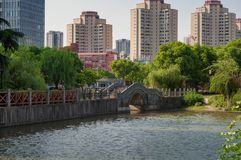 Arch bridge in Chinese park. Arch bridge in public Chinese park Stock Image
